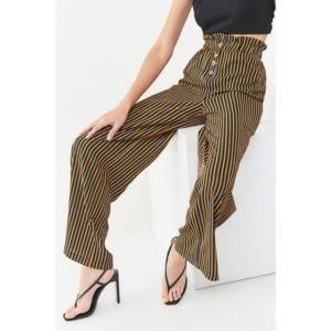 FOREVER 21 Striped Paperbag Wide High Waist Pants